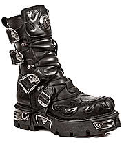 New Rock Boots Flames & Buckles Mid Boots M.743-S1 (Black)