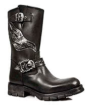 New Rock Boots Flames Biker Boots M.7601-S1 (Black)