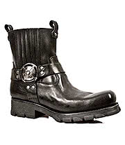 New Rock Boots Biker Pull On Ankle Boots M.7605-S1 (Black)