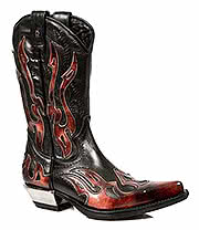 New Rock Boots Red Flames Cowboy Boots M.7921-S2 (Black/Red)