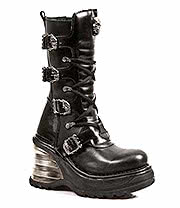 New Rock Boots Laces & Buckles Wedge Style M.8374-S1 (Black)