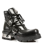 New Rock Boots Lace & Buckles Ankle Style M.988-S1 (Black)