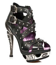 New Rock Boots Skulls Strappy Fancy Heel Shoes