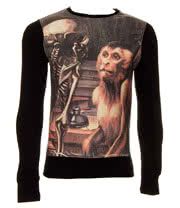 Cold Heart Monkey V Skeleton Sweater (Black)