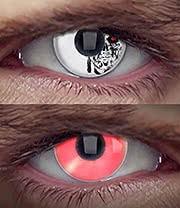 EDIT 90 Day Terminator Cyborg Coloured Contact Lenses (Red/White)