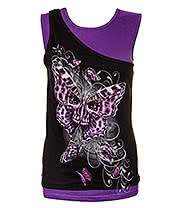 Spiral Direct Butterfly Skull 2 In 1 Top (Black/Purple)
