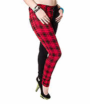 Bleeding Heart 50/50 Tartan Ultra Skinny Jeans (Red/Black)
