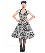 Hell Bunny Calaveras 50's Halterneck Dress (Black)