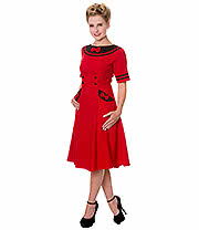 Banned Bow Dress (Red/Black)