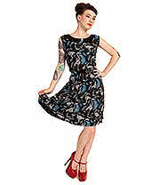 Cold Heart Skeleton Swan Classic Dress (Black/Blue)
