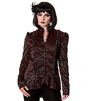 Banned Ivy Cross Steampunk Jacket (Burgundy/Black)