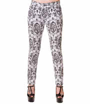 Banned Lady Skeleton Jeans (White/Black)