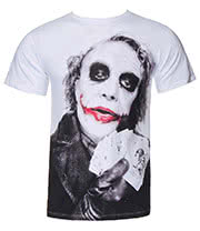 Batman The Dark Knight Joker Poker T Shirt (White)