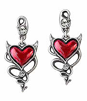 Alchemy Gothic Devil Heart Earrings