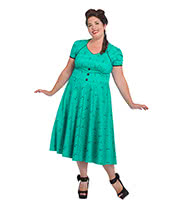 Voodoo Vixen Marita Cocktail Plus Size Dress (Aqua)