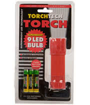 9 LED Bulb Torch with Batteries (Red)