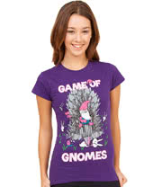 Flip Flop & Fangs Game Of Gnomes Skinny T Shirt (Purple)