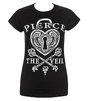 Pierce The Veil Heartlock Skinny T Shirt (Black)
