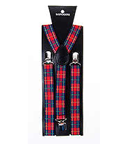 Blue Banana Tartan Braces (Red)