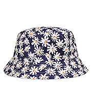 Blue Banana Daisy Canvas Bucket Hat (Blue)