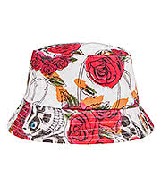 Blue Banana Skull & Rose Canvas Bucket Hat (White)