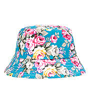 Blue Banana Flowers Canvas Festival Hat (Turquoise)