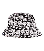 Blue Banana Elephant Canvas Bucket Hat (Black/White)