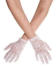 Blue Banana Short Flower Lace Gloves (White)