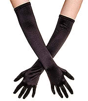 Blue Banana Long Satin Gloves (Black)