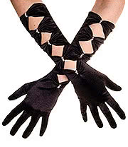 Blue Banana Long Satin & Pearls Gloves (Black)