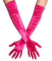 Blue Banana Long Rouched Satin Gloves (Hot Pink)