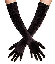 Blue Banana Long Rouched Satin Gloves (Black)