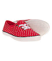 Bleeding Heart Polka Dot Print Canvas Shoes (Red/White)