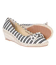 Blue Banana Stripe Wedge Pumps (Black/Cream)