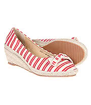 Blue Banana Stripe Wedge Pumps (Red/Cream)