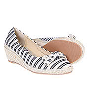 Blue Banana Stripes Wedge Pumps (Blue/Cream)