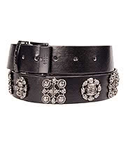 Blue Banana Skull Circle & Cross PU Belt