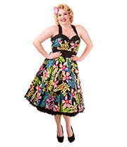 Banned Tropical Flowers Plus Size Dress