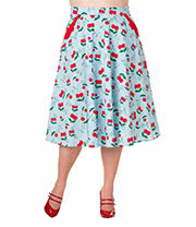 Banned Cherries Plus Size Skirt (Blue)