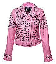Kill Star Studded Leather Jacket (Pink)