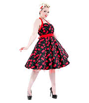 H&R Cherry 4004 Halterneck Dress (Black/Red)