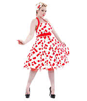 H&R Cherry 4004 Halterneck Dress (White/Red)