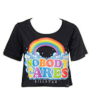 Kill Star Nobody Cares Crop Top (Black)