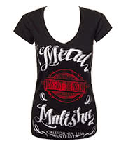 Metal Mulisha Maidens Mellow V Neck Skinny T Shirt (Black)