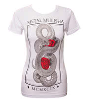Metal Mulisha Maidens Serpent Skinny T Shirt (White)
