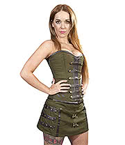 Burleska C Lock Twill Mini Skirt (Olive)