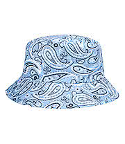 Blue Banana Paisley Canvas Bucket Hat (Light Blue)
