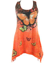 Innocent Butterfly Burnout Lace Panel Vest Top (Orange)