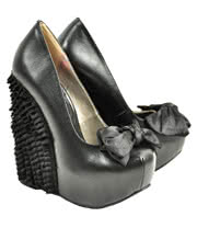 T.U.K Black Ruffle Wedge Shoes