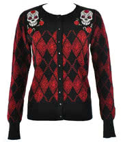 Voodoo Vixen Skull Cardigan (Black/Red)